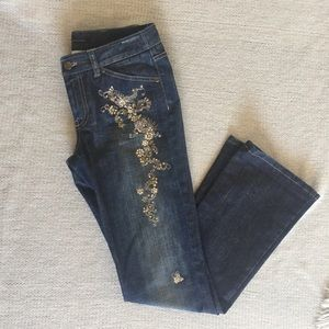 Elie Tahari embellished boot cut Jeans Size 4